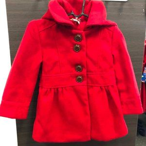 OLLIES PLACE Little Red Riding Hooded Duffle Coat Jacket